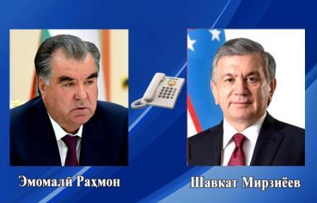 Суҳбати телефонӣ бо Президенти Ҷумҳурии Ӯзбекистон муҳтарам Шавкат Мирзиёев
